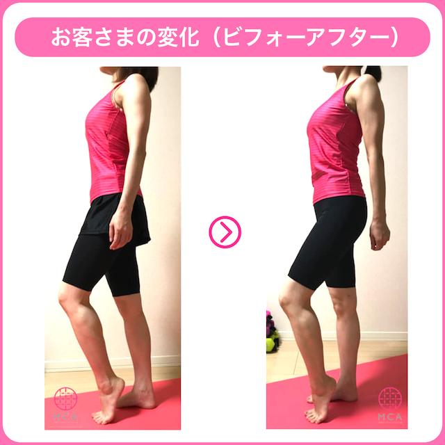 程よく筋肉がついた女性のビフォーアフター(横から)
