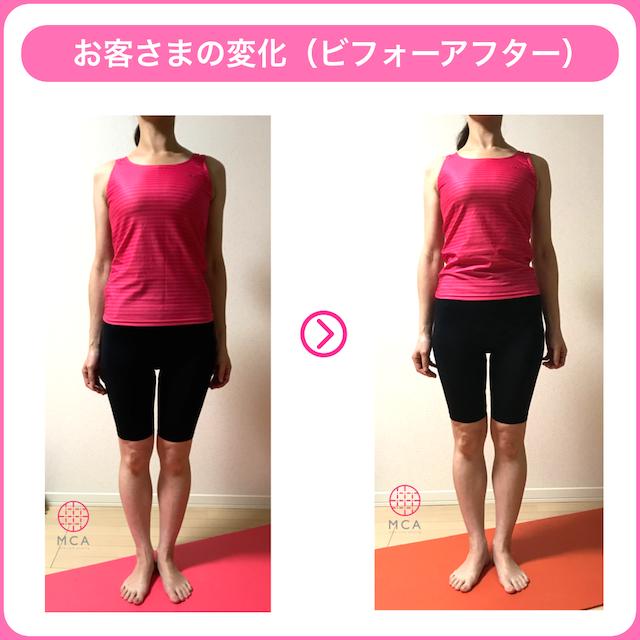 程よく筋肉がついた女性のビフォーアフター(前から)